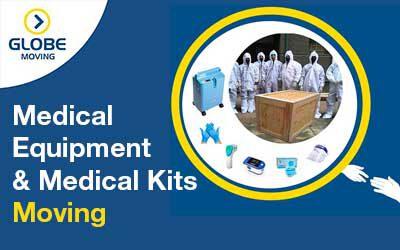Moving medical equipment and medical kits